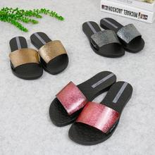 Comfortable slippers women sandals Bling Bling flat casual slippers summer outdoor beach women sandals and slippers jelly shoes цена 2017