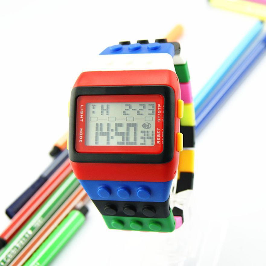 LED Цифровой Наручные Часы Для Детей Детей Часы Мальчики Девочки Унисекс Красочный Электронный Спорт Часы Для Lego Buildinng relogios