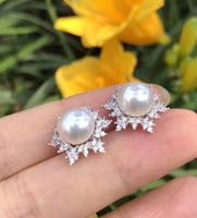 charming pair of 8.5 9mm south sea pearl earring 925silver