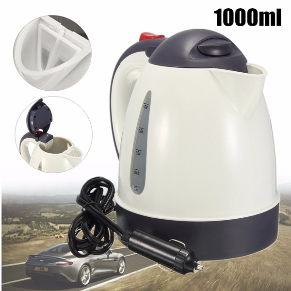 1000ML Car Hot Kettle Portable Water Heater Travel Auto 12V/24V for Tea Coffee 304 Stainless Steel Large Capacity Vehicle(China)