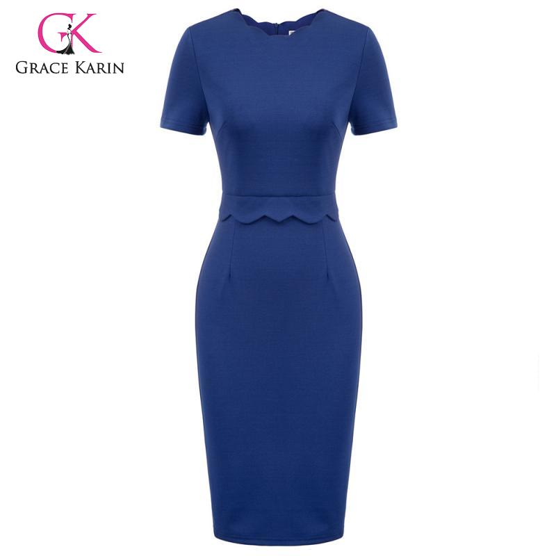 Grace Karin Business Women Formal Party Pencil Dress Solid Color Knee Length Bodycon Dresses Ladies Classic Office Work Dress