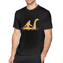 Gedruckt Bigfoot Sasquatch Reiten Die Loch Ness Monster Mens Fashion Schuss Ärmel T-Shirt