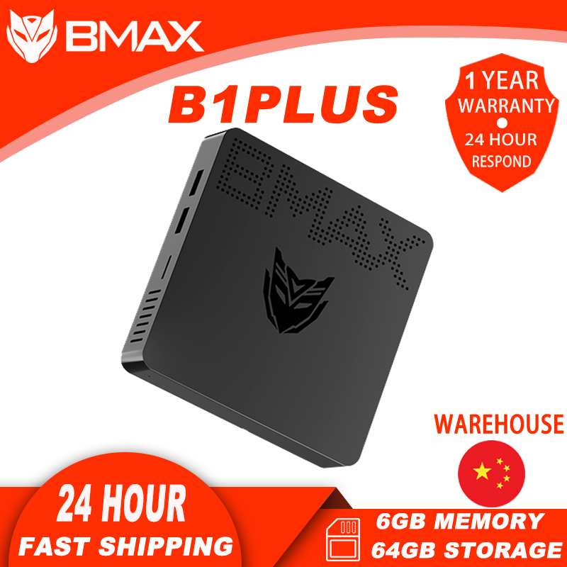 BMAX B1Plus портативный настольный мини-ПК с процессором Intel Celeron N3350 Dual-HDMI интерфейсом 6 ГБ памяти 64 Гб памяти