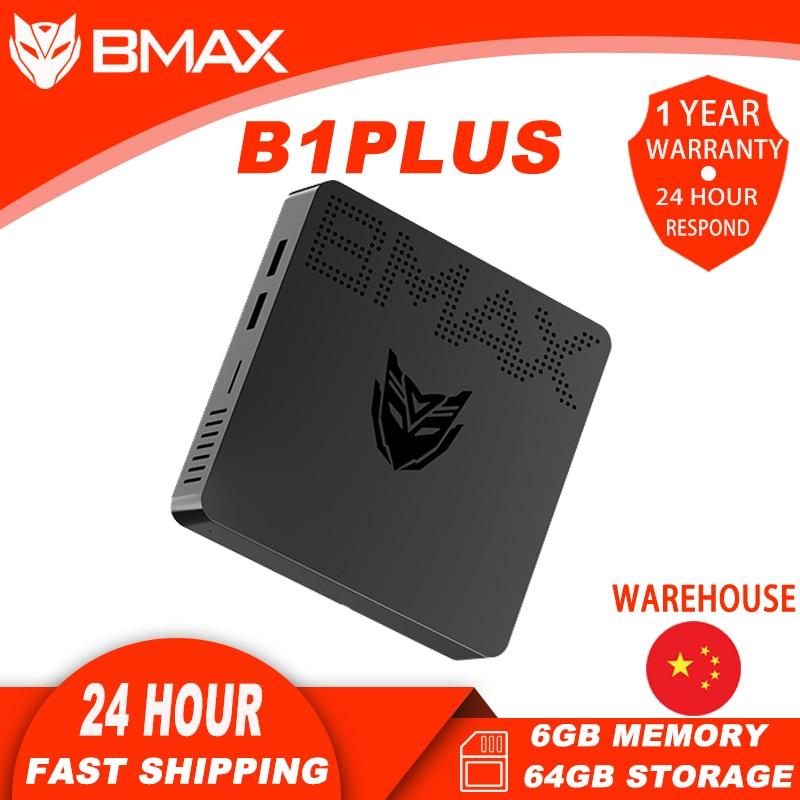 BMAX B1Plus Portable Desktop Mini PC with Intel Celeron N3350 Dual-HDMI Interface 6GB Memory 64GB Storage