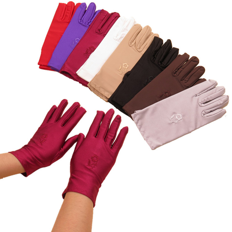 Elegant Satin Short Gloves Embroidery Wrist Protection Glove Mittens Spring Summer Retro Flowers Hand Gloves For Ladies Girls