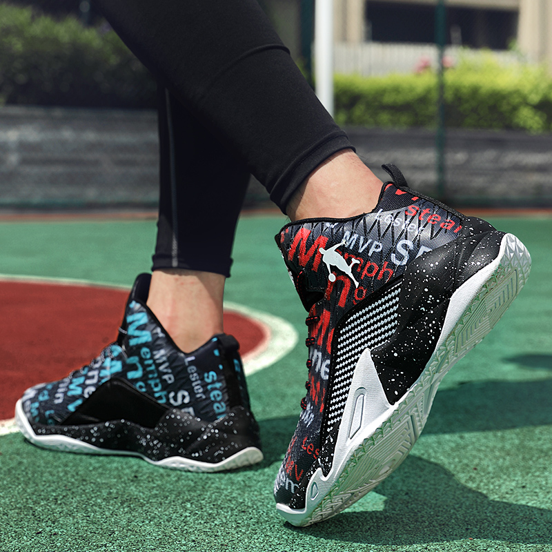 New Couple Basketball Tide Shoes Breathable Mesh Women's Vulcanized Shoes Shockproof Wear Non-slip Men And Women High Elastic
