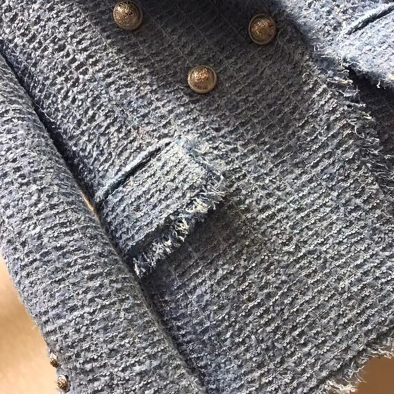 Женская куртка, модная твидовая куртка с v образным вырезом 2019, осенняя двубортная синяя куртка, элегантная - 6