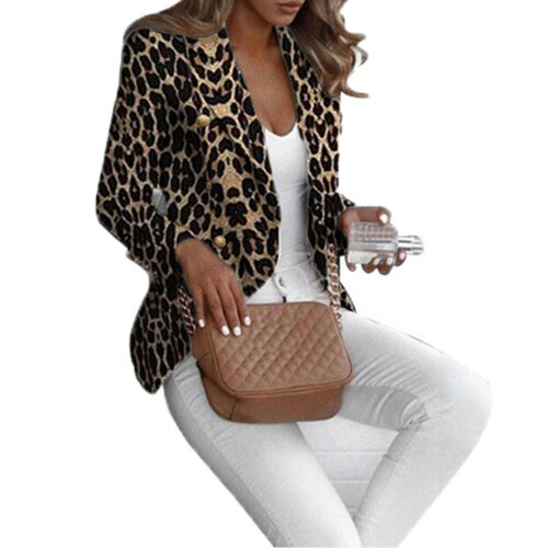 Hirigin Leopard Blazer Stylish Women Spring Autumn Casual Leopard Print Blazers Jackets Work Office Lady Suit Slim Business Coat