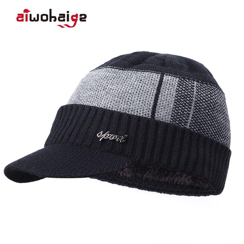 2019 High Quality Winter Men's Warm Knit   Beanie   Thick Lining Plus Velvet Casual Visor Hat Male Cotton Soft Cap   Skullies   Bonnet