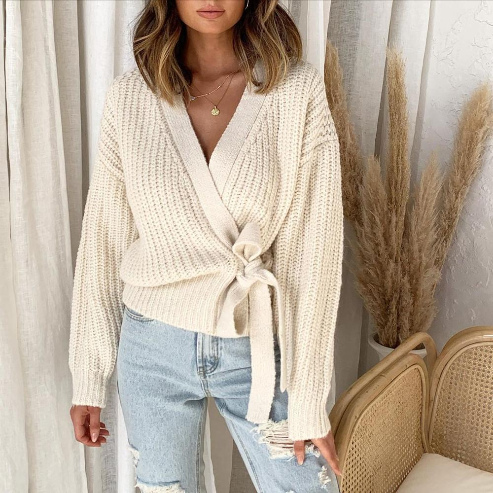 Women's 2020 Hot Fall Winter Fashion Casual V neck Lace Knit Sweater Pullover Short Sweater