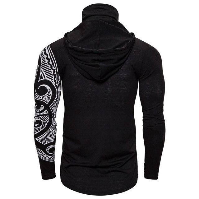Men Trend With Mask Hood Sweatshirt Elastic Fitness Tattoo Print Hooded Sweat Homme Mens Hip Hop Sudadera Ninja Suit Streetwear 4