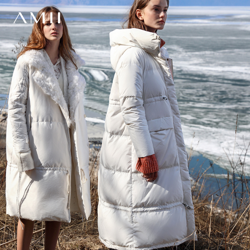 Amii Minimalist White Duck Down Coat Winter Women Hooded Zipper Thick Solid Female Long Down Jacket 11970439