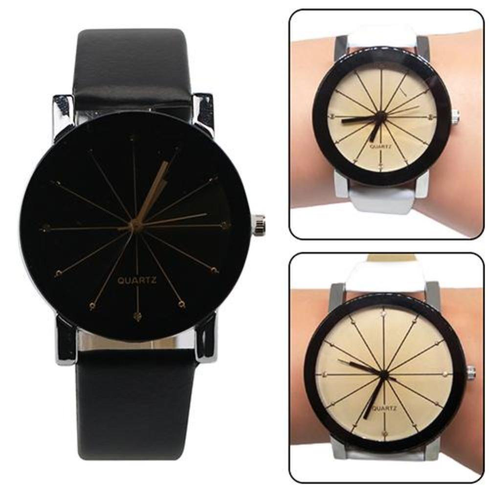 SANWOOD Men Women Fashion Alloy Faux Leather Watches Quartz Sports Dress Wrist Watch Valentine's Day Present Couple Watches