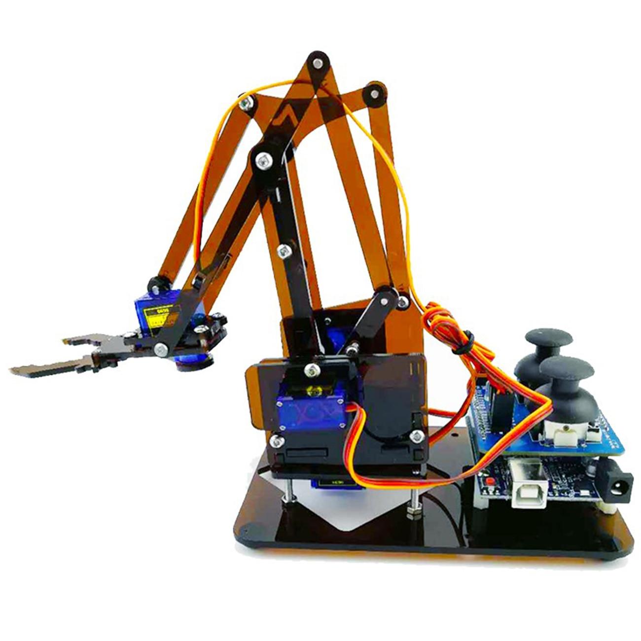 Controlador de braço mecânico acrílico 4 dof, garra para brinquedo, kit robô diy