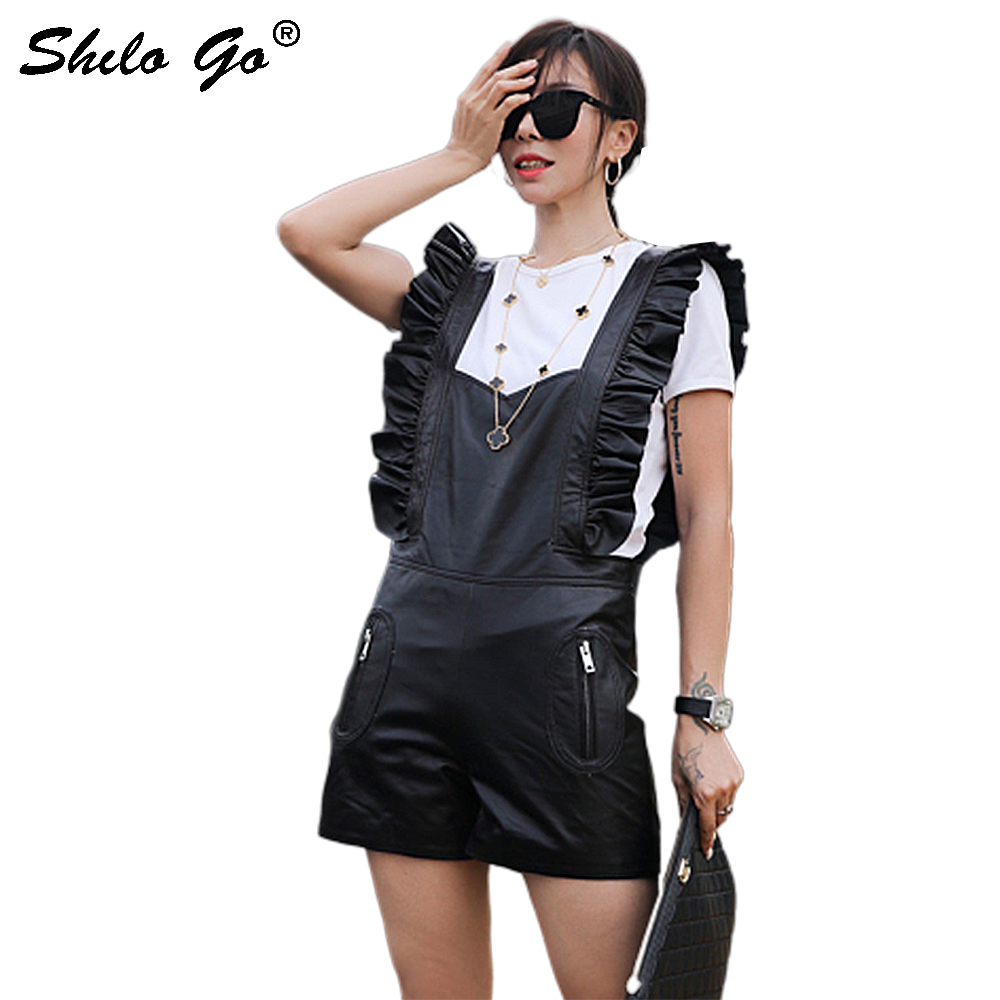 Genuine Leather Playsuit Ruffle Romper Womens Wide Leg High Waist Playsuit Autumn Solid Highstreet Party Sleeveless Playsuit