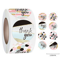 500pcs/roll Gift Sealing Stickers Thank You Love Design Scrapbooking Paper Stickers Festival Birthday Present Decorations Labels