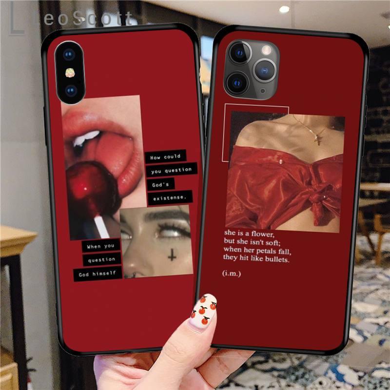 Retro Red Pattern Art Lyrics Aesthetic Phone Case For IPhone 11 12 Pro XS MAX 8 7 6 6S Plus X 5S SE 2020 XR