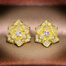 14K Gold White Diamond Earring for Women Fine Natural Silver 925 Jewelry Gemstone Bizuteria Bijoux Femme Orecchini Stud Earrings