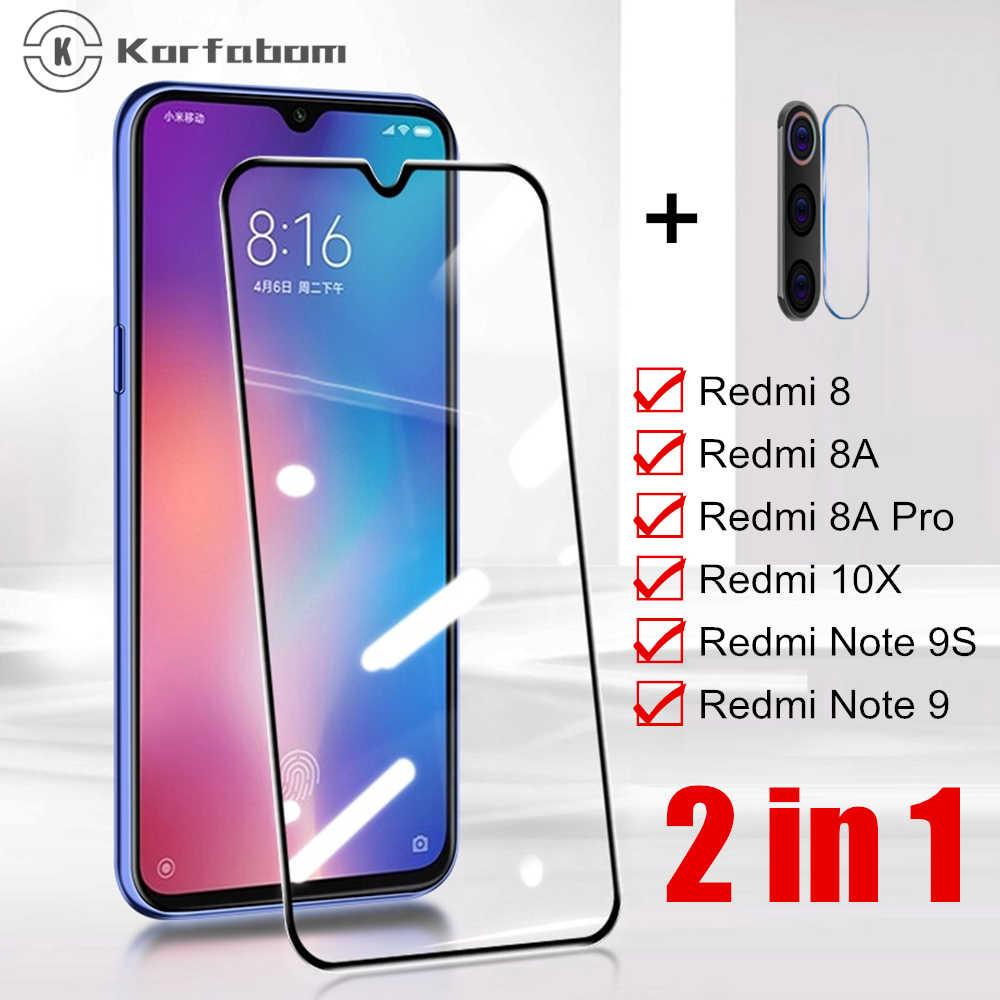2 ב 1 מזג זכוכית עבור Xiaomi cc9 A3 redmi 8 8A 7A מלא כיסוי עבור redmi note 7 8 פרו 8 T מסך מגן Note8 משוריינת סרט
