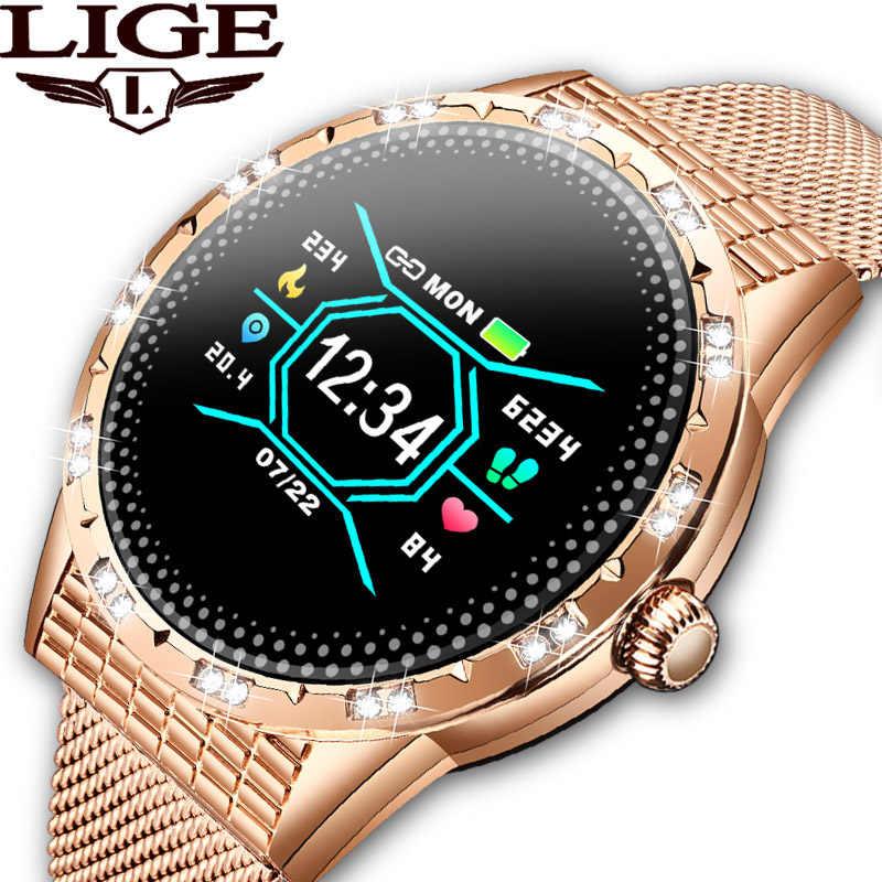 ליגע אופנה נשים חכם שעון ספורט גשש כושר קצב לב צג לחץ דם מד צעדים עבור אנדרואיד iOS smartwatch