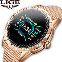 LIGE Fashion Women Smart Watch Sports Fitness Tracker Heart Rate Blood Pressure Monitor Pedometer for Android iOS smartwatch