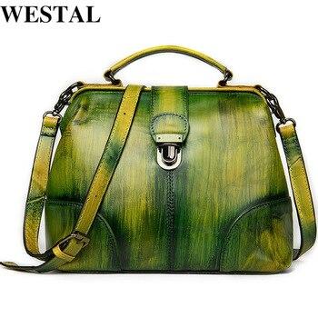 WESTAL Women's Genuine Leather Handbags top-handle Bags Luxury Handbags Women's Bags Designer Shoulder Messenger Bag Women 7046