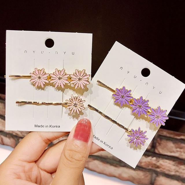 2 pçs/set novo feminino meninas colorido liga flor barrettes doce hairpins grampos de cabelo bonito ornamento de cabelo moda acessórios para o cabelo