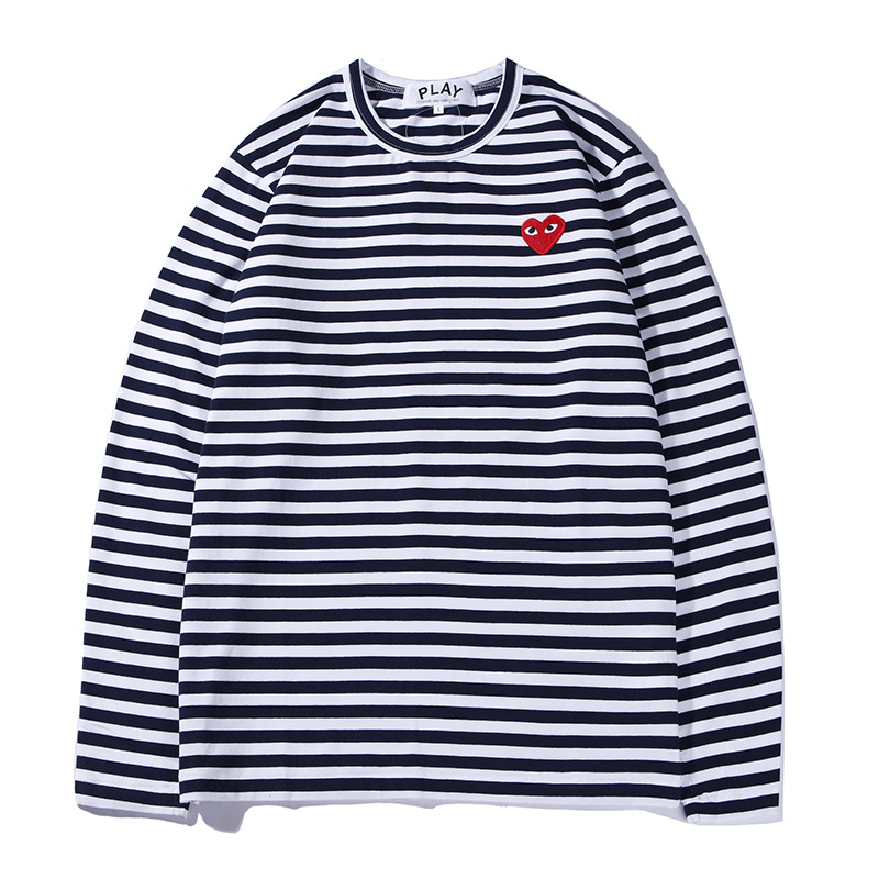 Long-term Spring And Summer Stripes Peach Heart Versatile Stripes Embroidered Heart Long Sleeve Men And Women Cool COUPLE'S Fash