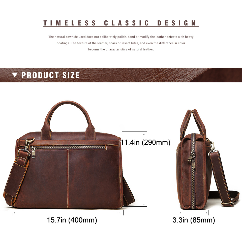 Men Briefcase Bag Leather Comfortable Laptop Handbag 2021 3