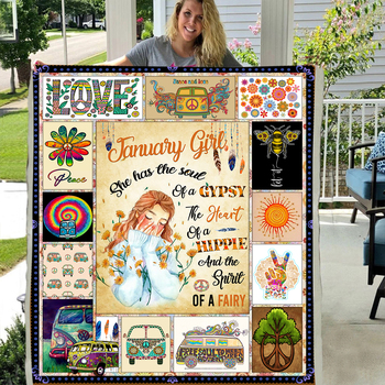 January to December the girl of gypsy hippie fairy Sofa Throw Blanket To My daughter Custom Fleece Flannel thick warm Blanket