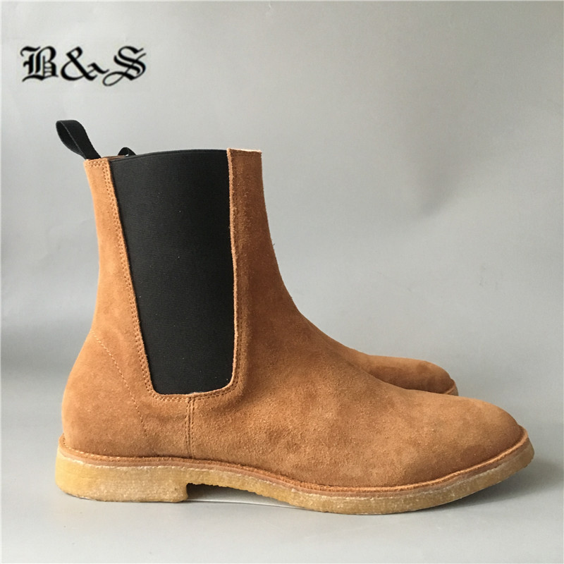 Black& Street Real Picture Handmade Suede Leather West Kanye Desert Boots Slim Fit Denim Martin Chelsea Boots