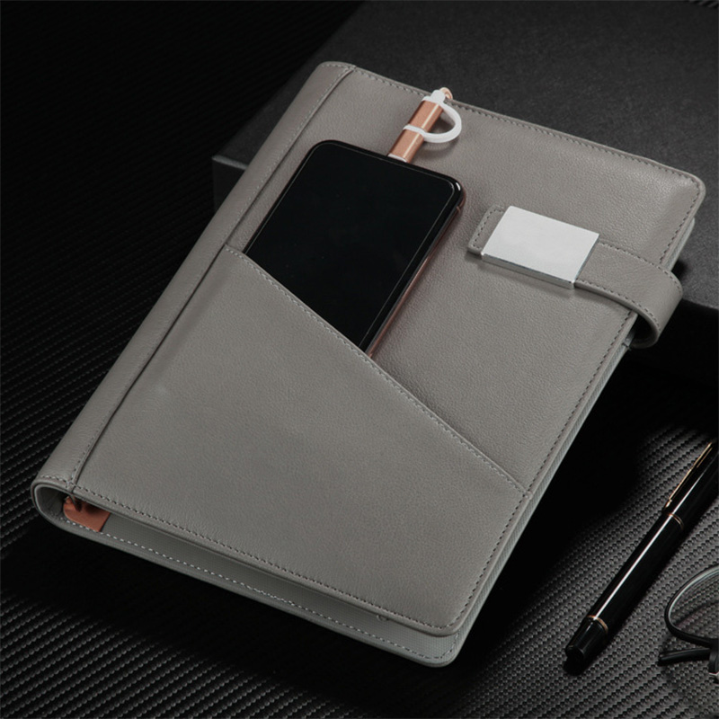 Creative business notebook set loose leaf wireless charger mobile power U disk meeting Notepad charger notebook