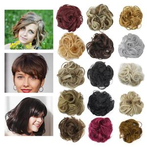 Hot Synthetic Flexible Hair Buns Curly Scrunchy Chignon Elastic Messy Wavy Scrunchies Wrap For Ponytail Extensions For Women(China)