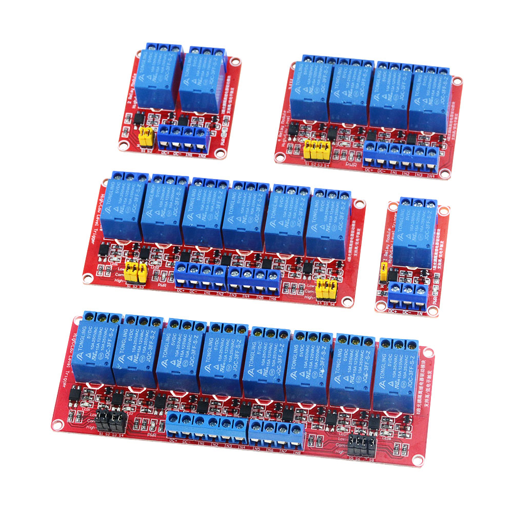 5V 24V 12V 1 2 4 Channel Relay Module Board Shield With Optocoupler Road High And Low Level Trigger Relay Red Bottom
