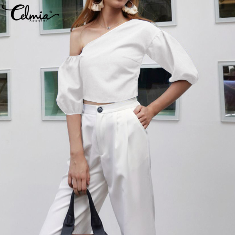 5XL Women's Blouses Sexy Off One Shoulder Party Shirts Celmia 2020 Summer Half Sleeve Casual Solid Elegant Office Ladies Tops 7