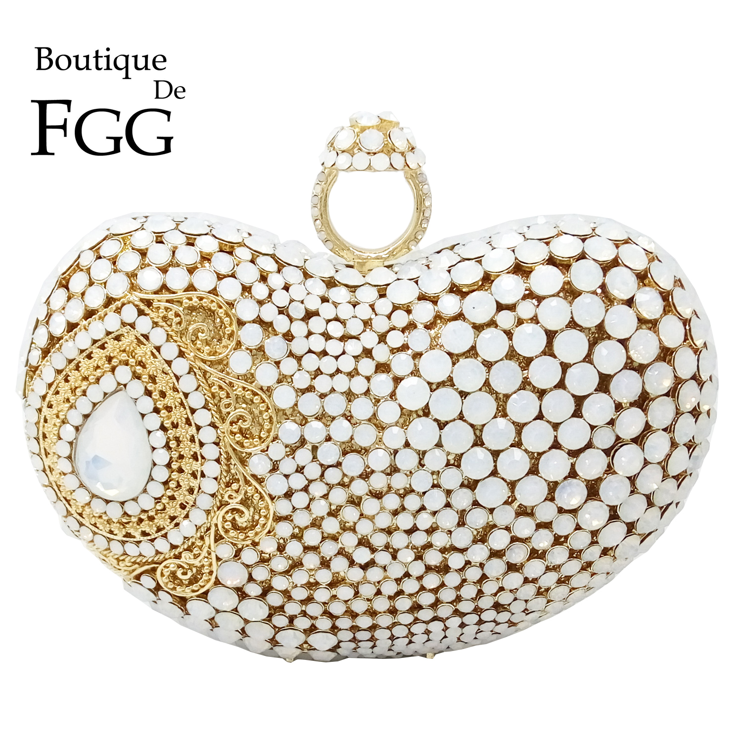 Boutique De FGG Pearl White Women Evening Bags And Clutches Formal Dinner Ladies Party Crystal Handbags Bridal Wedding Purses