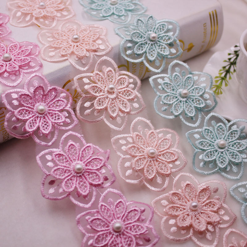 1Yards Beautiful Flower Pearl Beaded Embroidered Lace Ribbon Trim Fringe African Fabric  Handmade Sewing Supplies