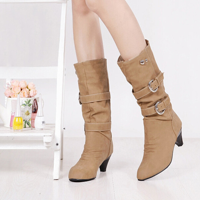 Shoes Woman Boots Women High Boots Autumn Winter Round Head Anti Slip Belt Buckle Cup Middle Tube Comfortale Female Casual Botas