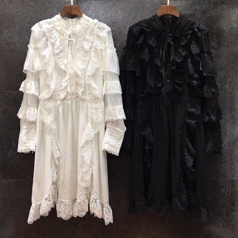 Vestido de pasarela de diseñador de alta calidad 2020 primavera para mujer Vestidos de encaje bordado Patchwork manga larga blanco negro - 5