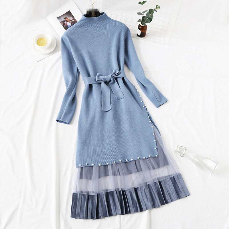 Elegant Stylish Half Turtleneck Long Sweater Dress + Pleated Velvet Skirt 2pcs Women Beaded Sashes Kitted Top and Mesh Skirt Set 40