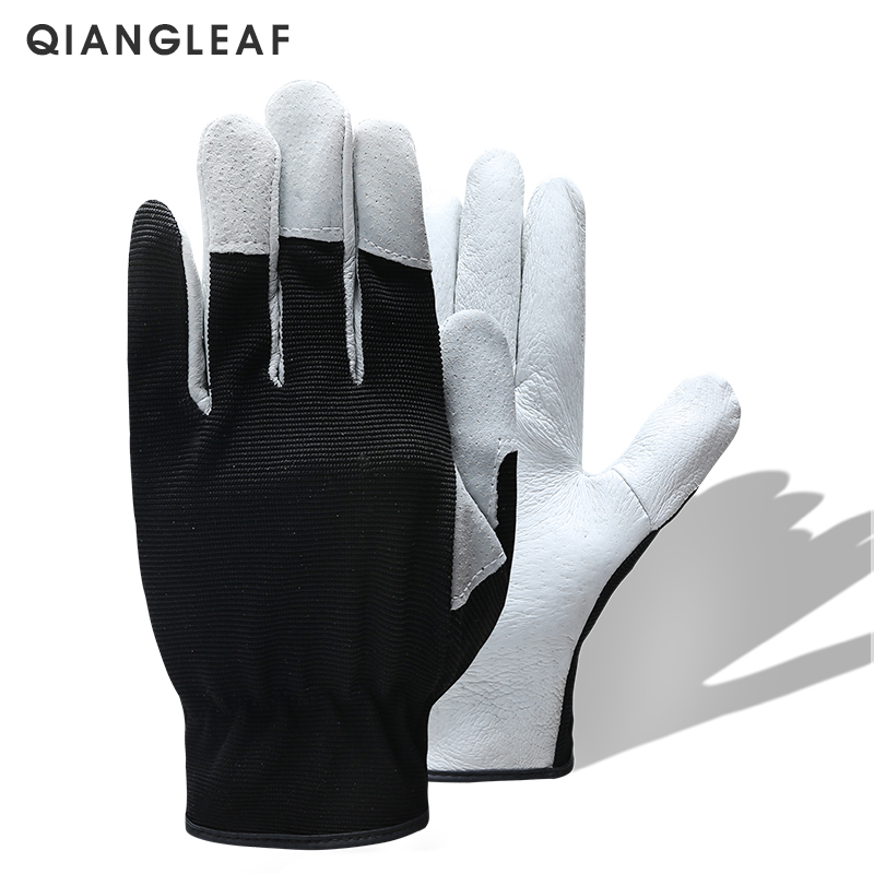 QIANGLEAF Hot Product Pigskin Leather Working Safety Glove Coat Leather Gardening Glove Mechanic Work Gloves 9530