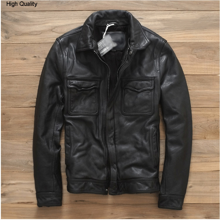 2020 Men's Import Cowhide Leather Jacket Korea Fashion Slim Fit Genuine Leather Coat Men Stylish Pockets Natural Leather Clothes