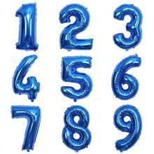 32 + синий + номер ++ фольга + воздушный шар + от 0 + до + 9 + и + 24 буквы + гелий + воздушные шары + день рождения + вечеринка + украшение + надувной + воздух + баллон + свадьба + принадлежности