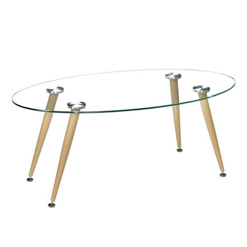 Wood Grain Conical Leg Transparent Tempered Glass Assembly Coffee Table