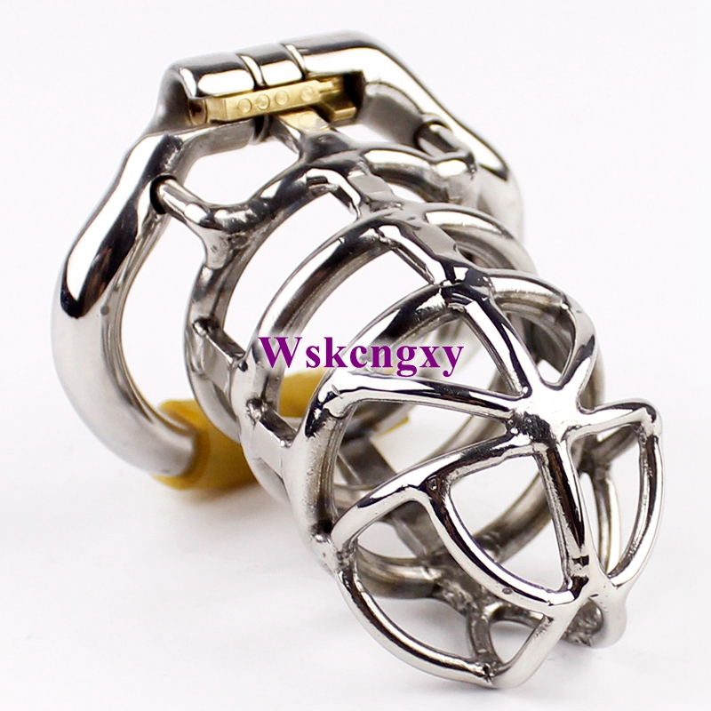 NEW Male Chastity Device Stainless <font><b>Steel</b></font> Large Chastity Cage <font><b>Penis</b></font> Lock Chastity <font><b>Penis</b></font> <font><b>Ring</b></font> Chastity Belt Men image