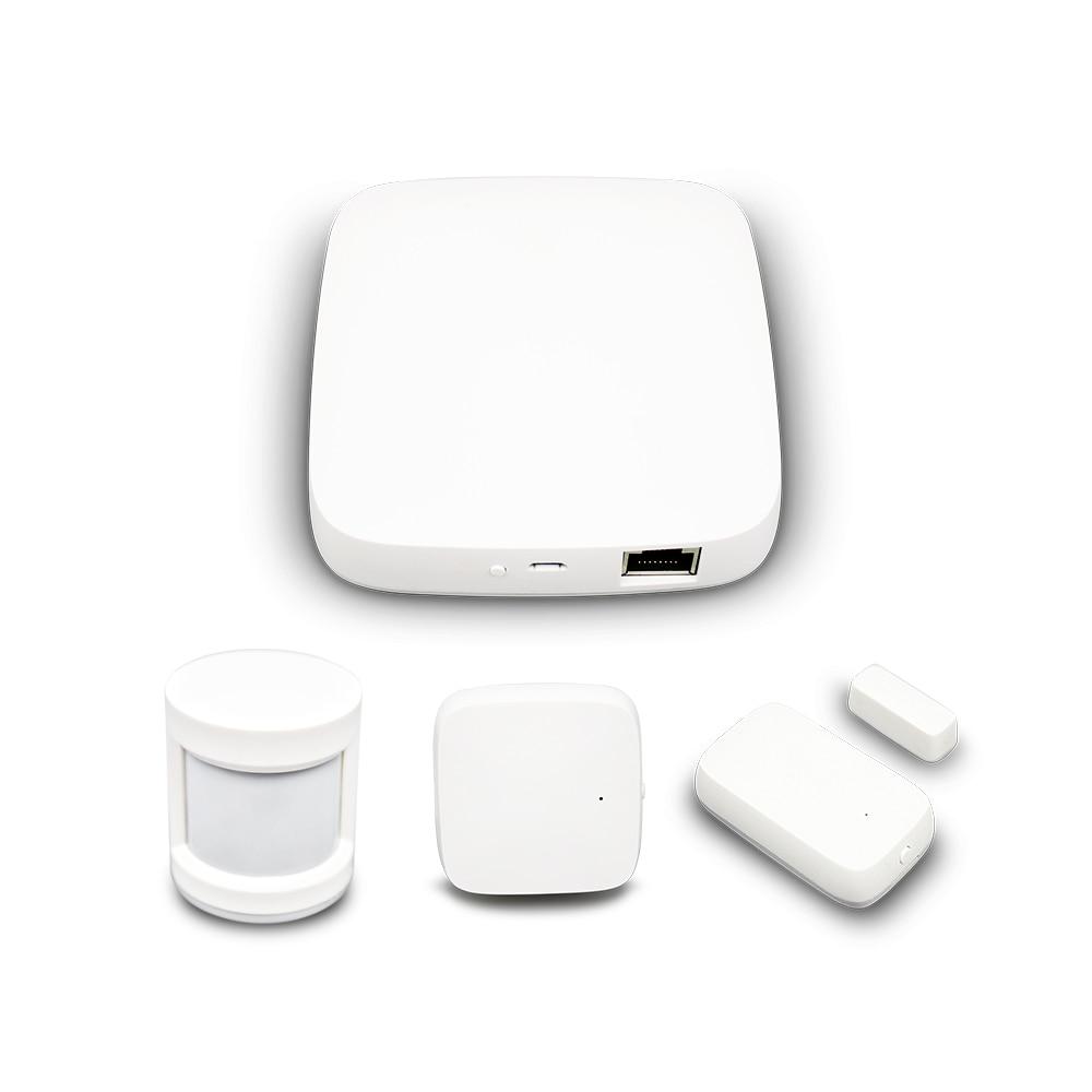 Tuya zigbee hub casa inteligente, kit de alarme de segurança com sensor de temperatura e umidade