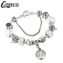Cuteeco 2019 New Silver Plated Tree Of Life Charm Bracelet White Crystal Ball Beads Fits Brand For Woman Jewelry