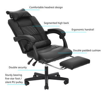 Gaming Chair With Footrest Adjustable Backrest Reclining Leather Office Chair Comfortable Swivel Ergonomic Chair Furniture 5