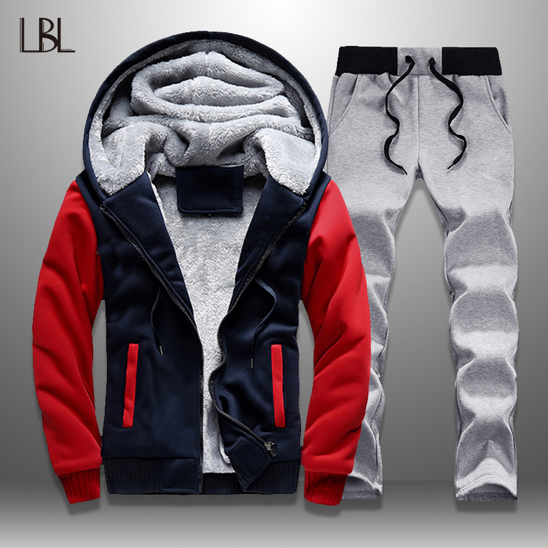 2 Pieces Sets Tracksuit Men New Brand Autumn Winter Hooded Sweatshirt +Drawstring Pants Male Patchwork Hooded Jacket Man 2019