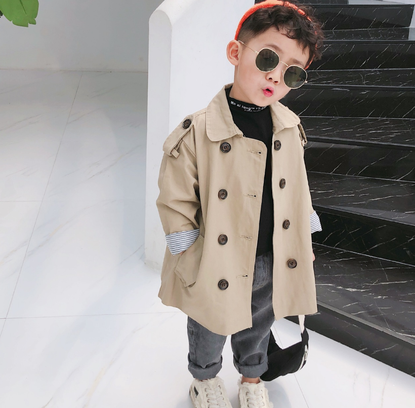 Autumn Korean style fashion boys oversized trench jackets Kids loose striped patchwork long coats children outwears